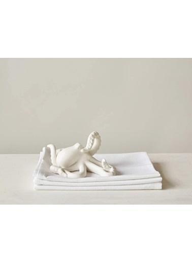 Warm Design Dekoratif Ahtapot Peçete Tutacağı & Kitap Düzenleyicisi Beyaz